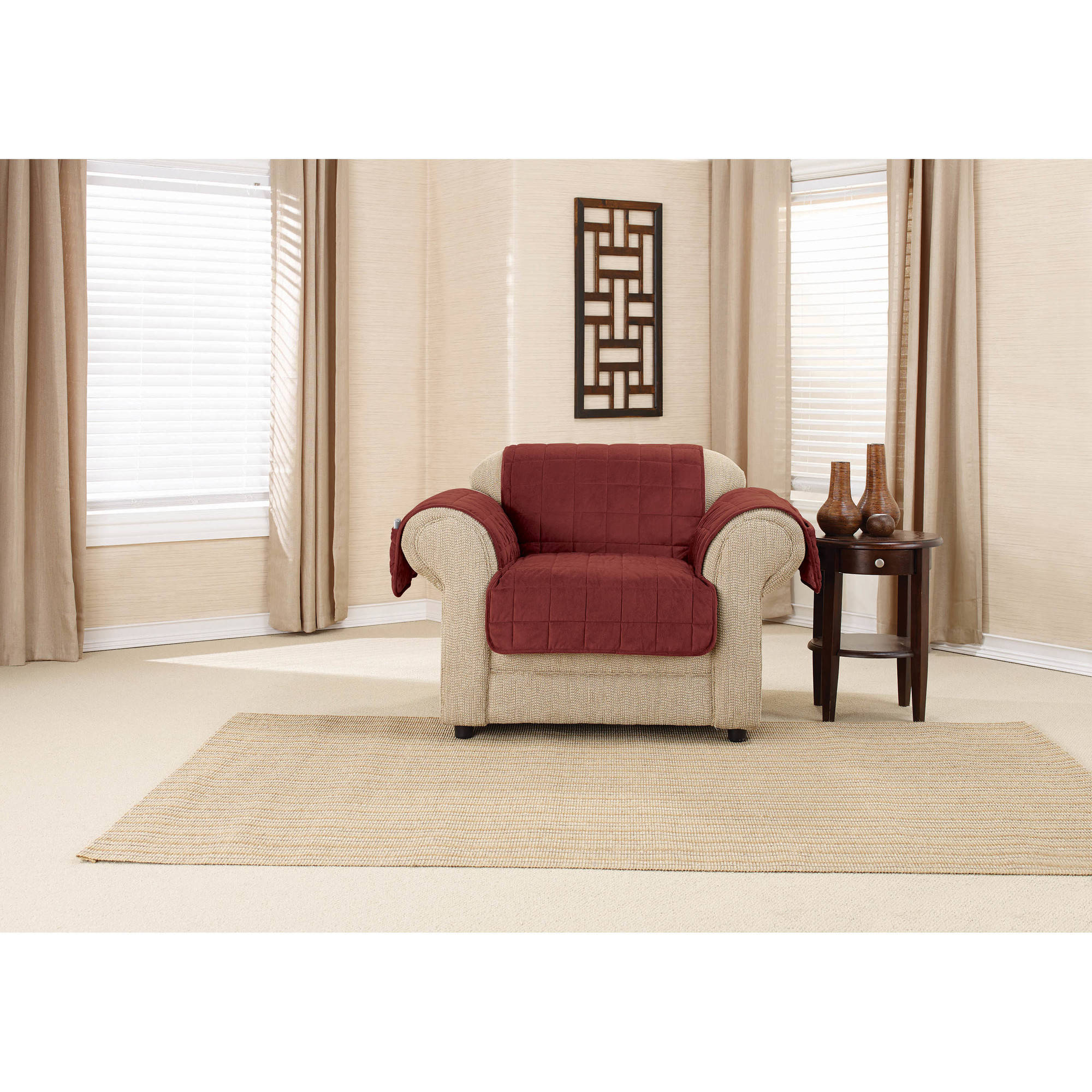 Sure Fit Deep Pile Velvet with Paw Print Chair Pet Throw