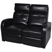 Anself  Artificial Leather Home Cinema Recliner Reclining Sofa 2-seat Black