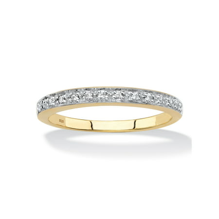 Diamond Accent Single Row Ring Band in 18k Gold over Sterling Silver