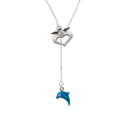 Resin Dolphin   Guardian Angel Lariat Necklace
