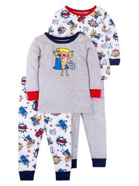 Little Star Organic Baby Boys & Toddler Boys Snug Fit Cotton Long Sleeve Pajamas, 4pc Set (12M-5T)