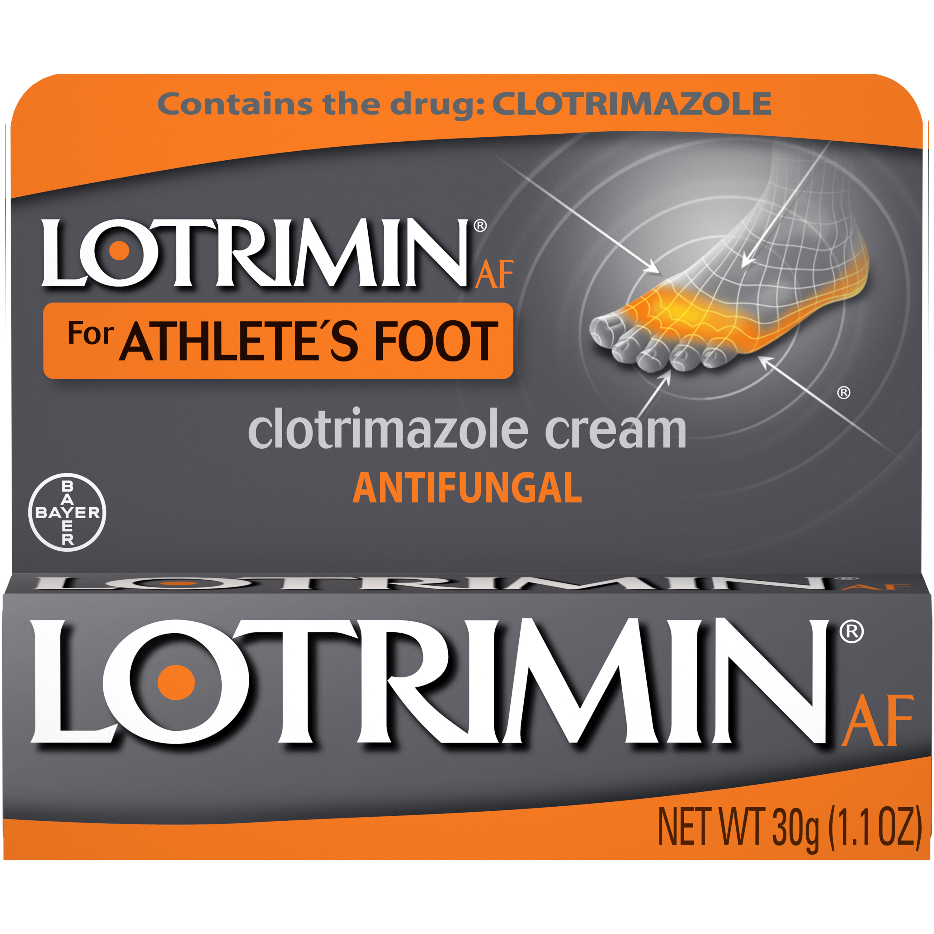Lotrimin AF Athlete's Foot Antifungal Cream, 1.1 Ounce Tube