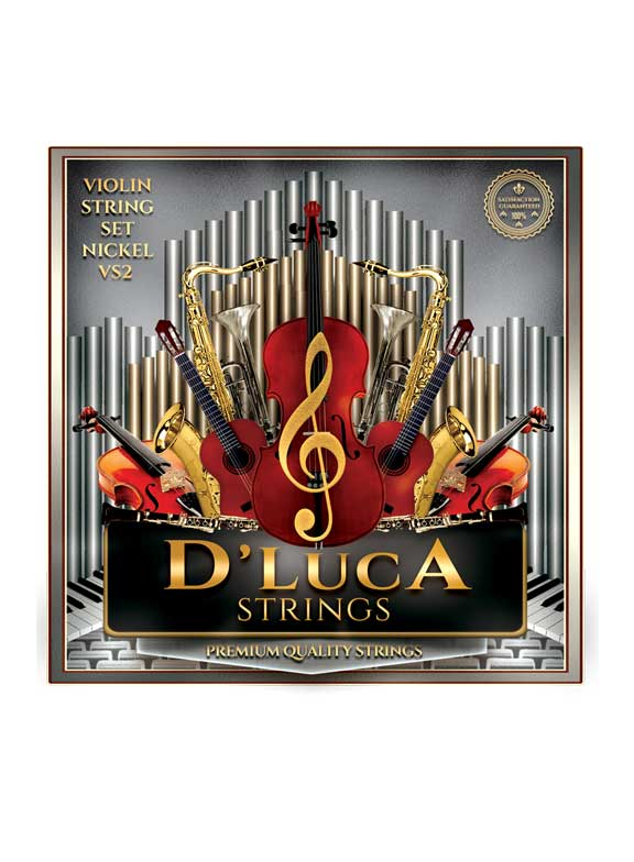 D'Luca Stainless Steel Core Flat Nickel Wound with Ball End Violin String Set 1 16 by D'Luca