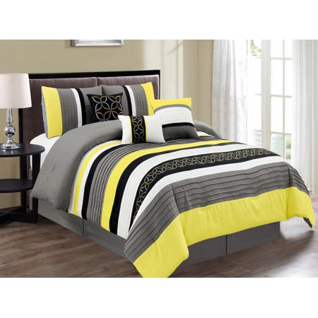 7-Pc Jaden Medallion Clover Star Embroidery Pleated Striped Comforter Set Yellow Black Gray White Queen ()
