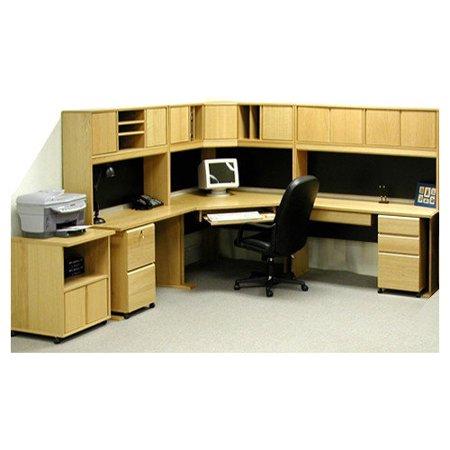 Rush Furniture Office Modulars Corner Desk With Machine Cart
