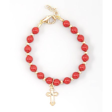 Red Coral Chip Bracelet (Red Coral Swarovski Pearls with 14KT Gold Filled Mini Beads and Cross Charm Bracelet)