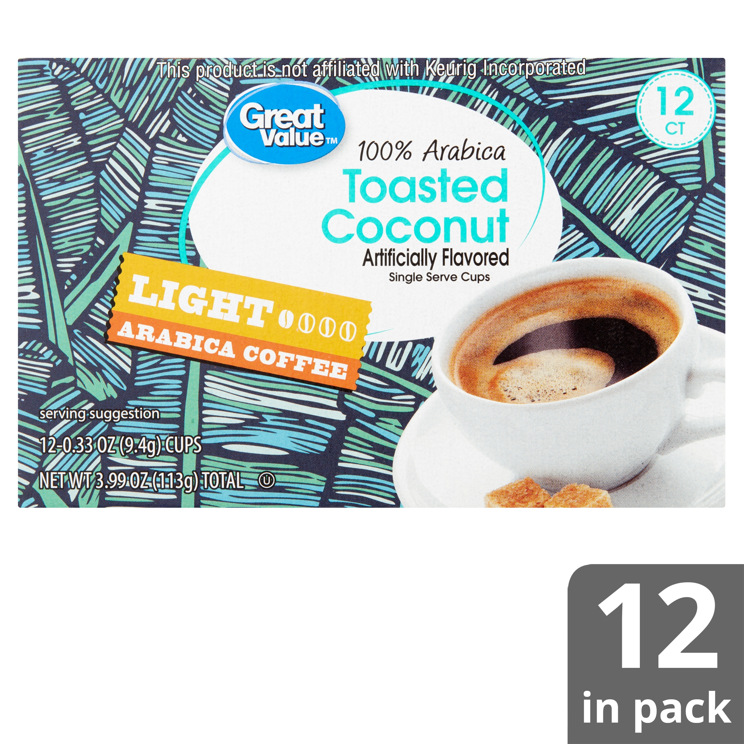 Great Value 100% Arabica Toasted Coconut Light Arabica Coffee, 0.33 ...