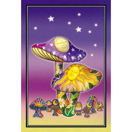 2 x Dan Morris - Sleepy Sun Moon Mushroom Celestial Flowers Postcards - 4'' x 6'' Inches