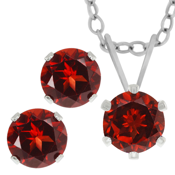 3.00 Ct Round 6mm Red Garnet 925 Sterling Silver Stud Earrings Pendant Set 18""