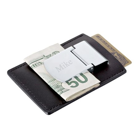 Personalized Zippo Leather Credit Card And Silver Money Clip