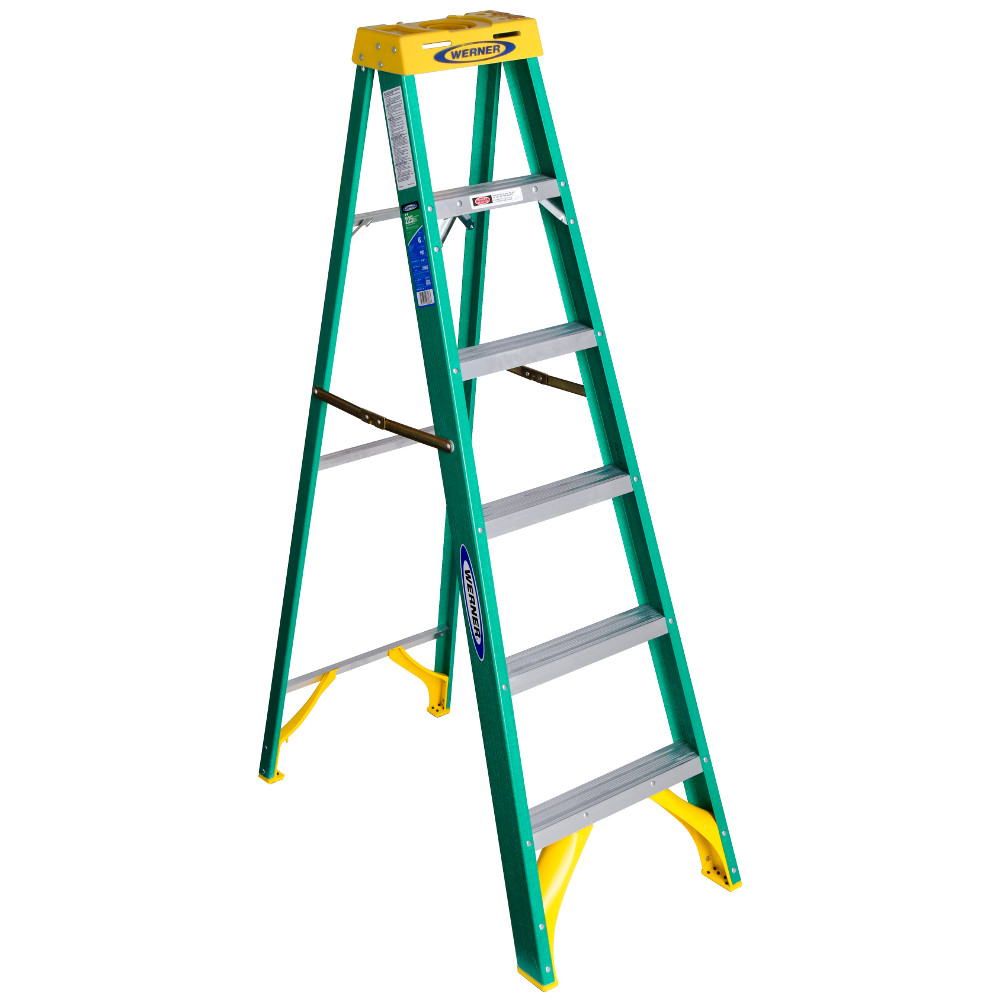 Werner 5906 6' Fiberglass Step Ladder with Yellow Top 22lb. Load Capacity TYpe II Duty Rankings