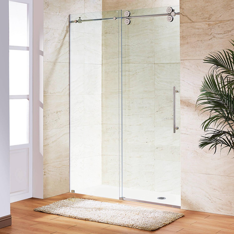 """Vigo 48"""" Frameless Shower Door, 3/8"""" Clear/Stainless Steel Hardware"""