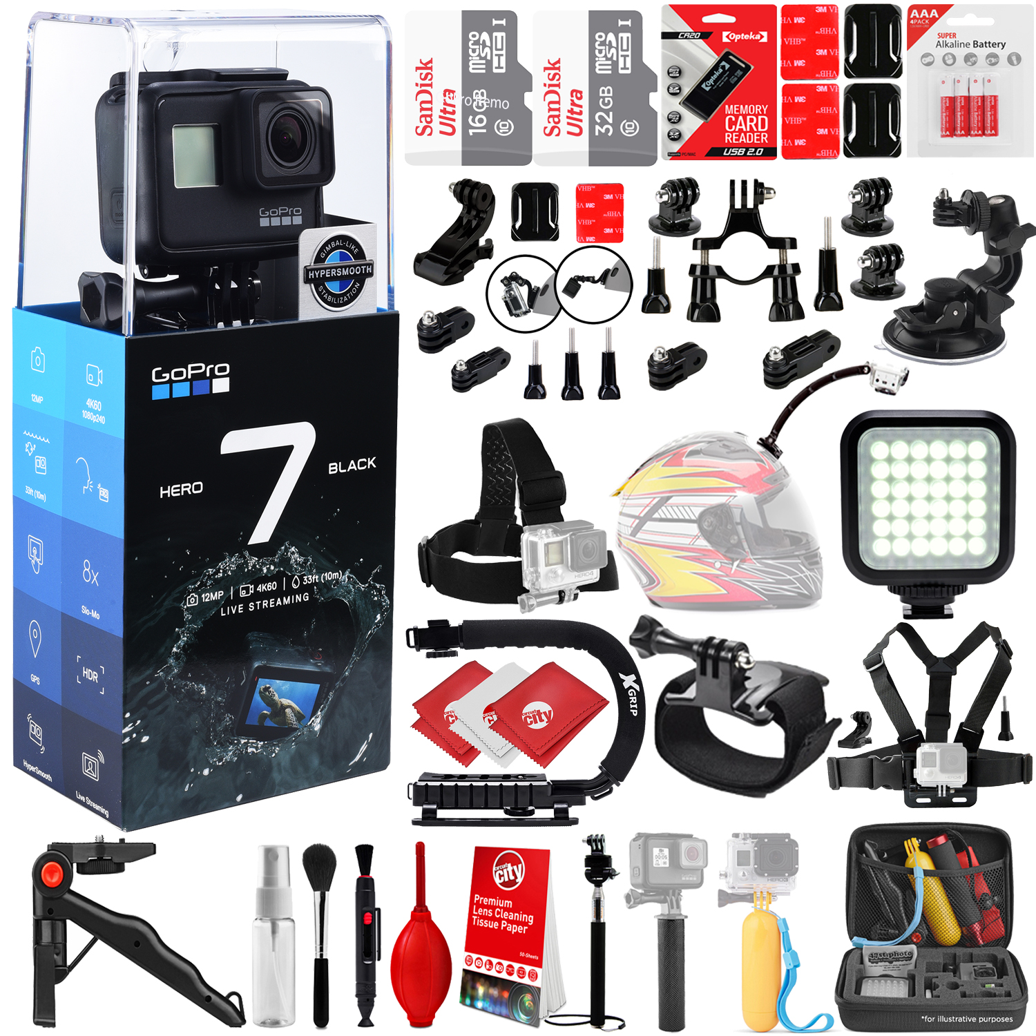 GoPro HERO7 Black 4K 12MP Digital Camcorder w/ 48GB - 40PC Sports Action Bundle (2x 16GB Micro SD cards, Suction Cup Window Mount, High Power LED Light, X-GRIP Stabilizing Handle & More)