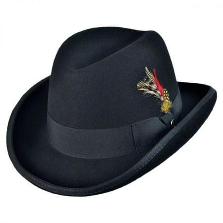 Brim Homburg - Wool Felt Homburg Hat - XL - Black