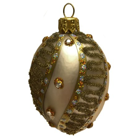 Mini Champagne Gold Jeweled Faberge Inspired Egg Polish Glass Christmas Ornament