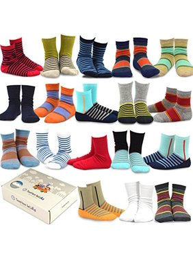 TeeHee (Naartjie) Kids Boys Fashion Cotton Crew 18 Pair Pack Gift Box (6-8 Years, Basic Stripe)