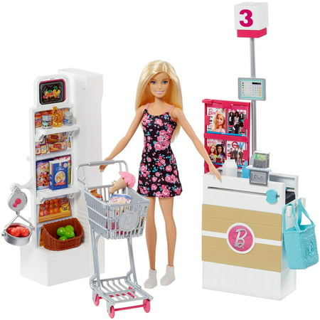 Barbie Supermarket Playset, Blonde Hair, with 25-Grocery Themed Pieces (Barbie Fabric)