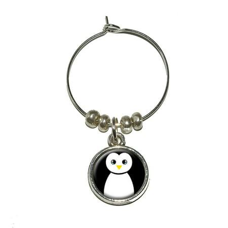 Penguin - Black and White Wine Glass Charm](Penguin Wine Glass)