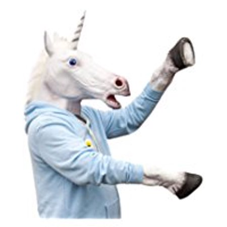 Halloween Adult Unicorn head latex Mask with 1 Pair Unicorn Hooves Gloves by singlestopshop](Goat Head Mask)