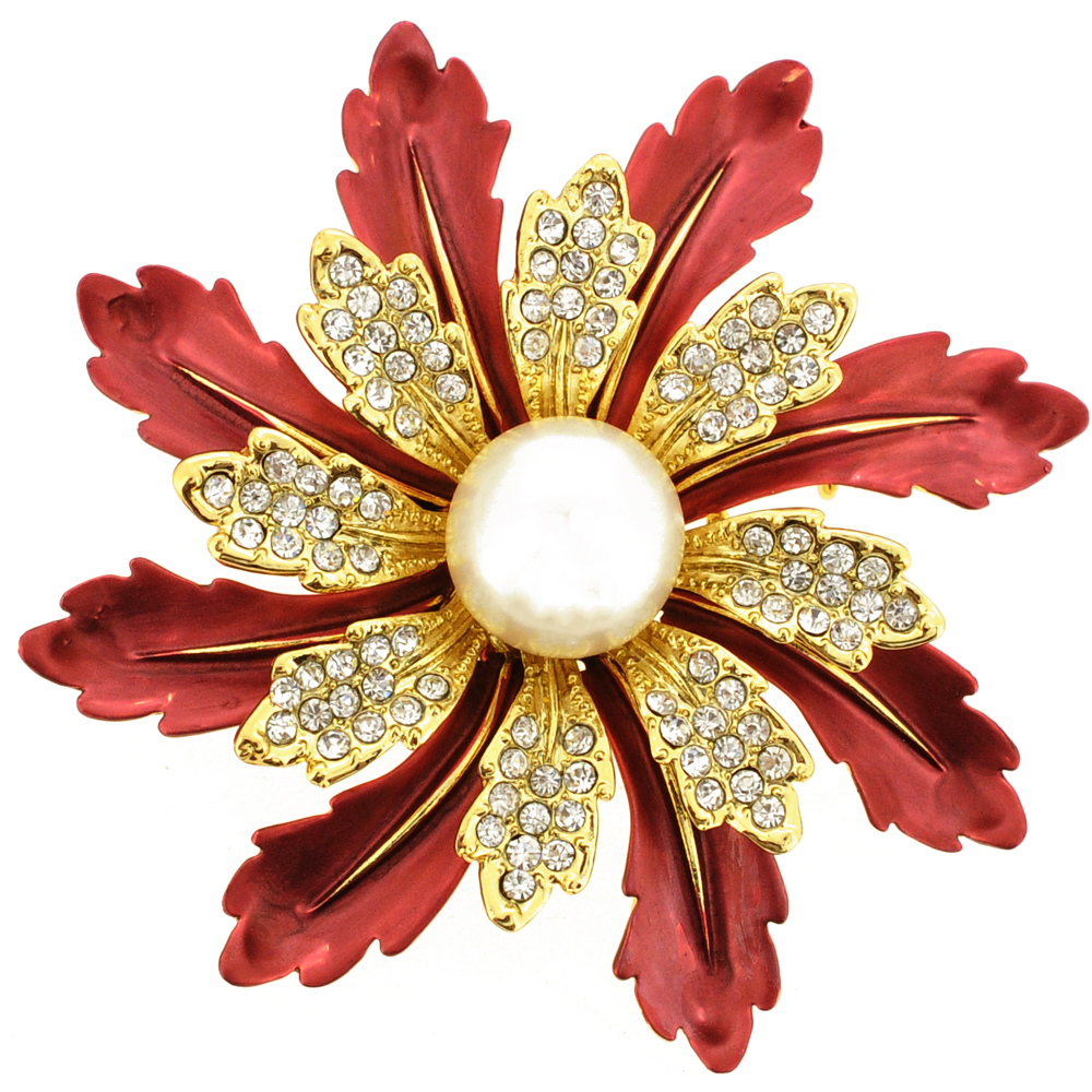 Red Flower Pearl Pin Brooch by