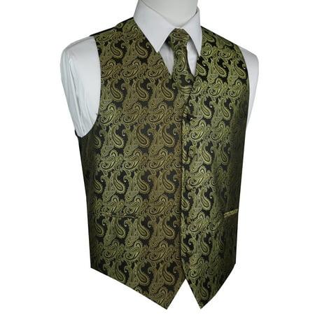 Italian Design, Men's Tuxedo Vest, Tie & Hankie Set - Olive Paisley Green Paisley Shirt