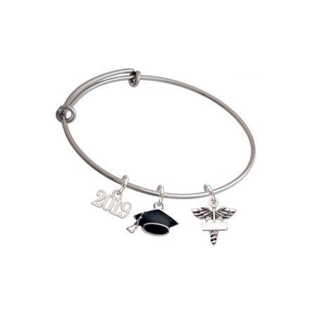 Silvertone Engraveable Caduceus - 2019 Graduation Charm Bangle Bracelet