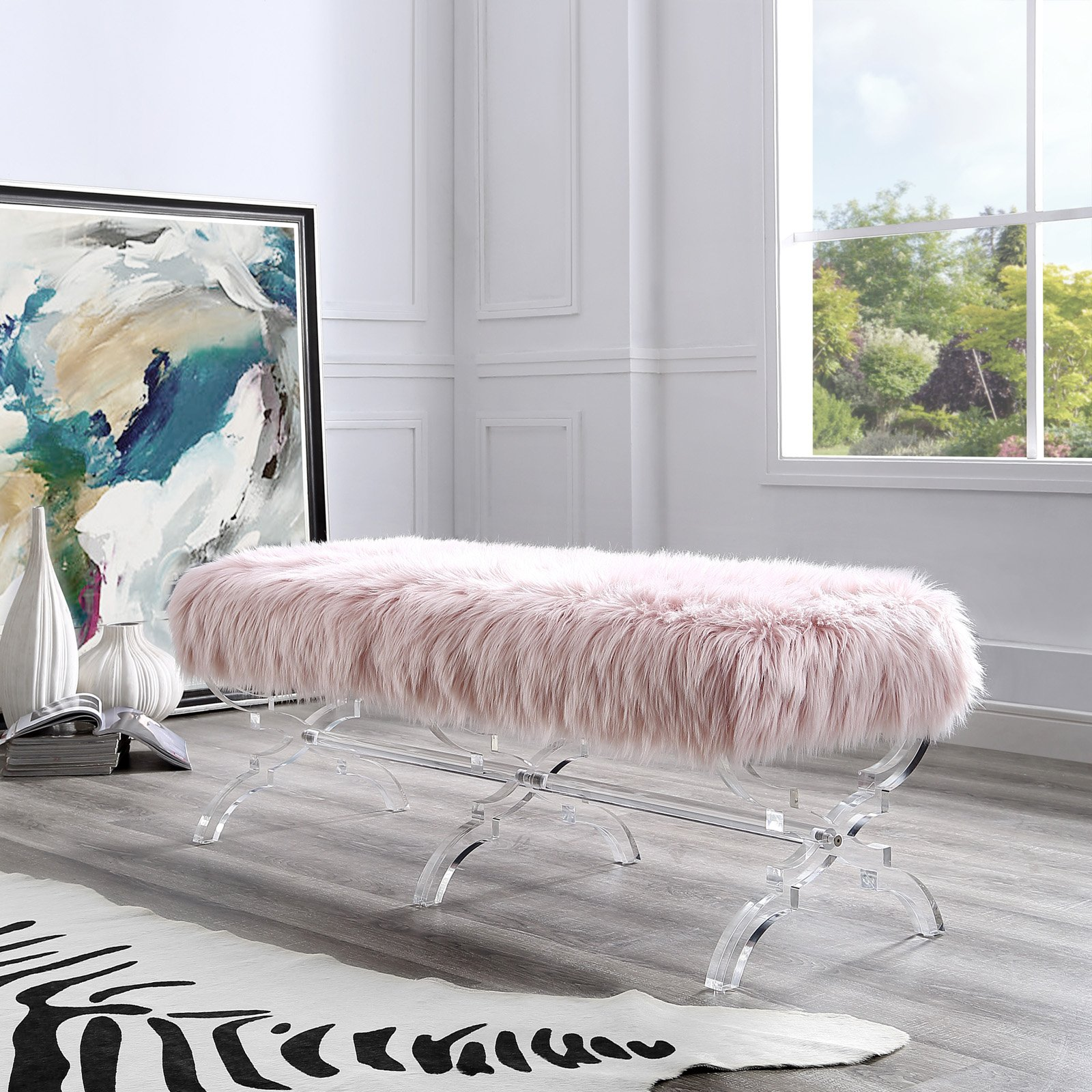 Inspired Home Melody Faux Fur and Acrylic Backless Bedroom Bench