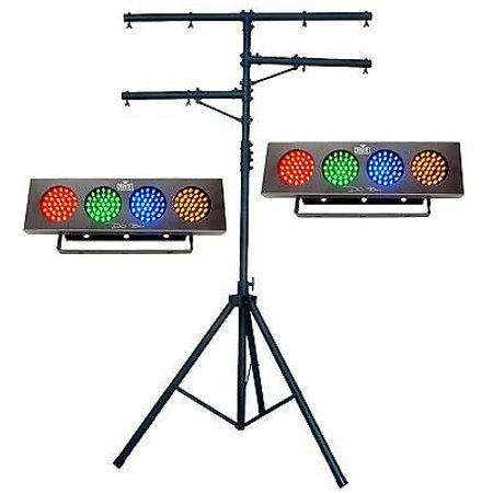 2 Chauvet Dj Bank Compact Led Multi Color Lights   Ch 02 12 T Bar Tripod Stand  Istilo260184