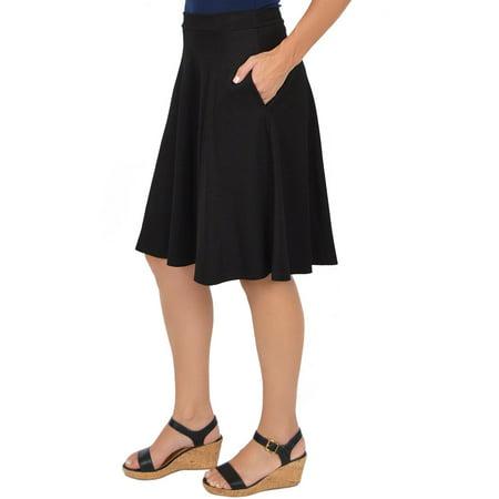 Plus Size Circle Skirt With Pockets - 3X (20-22) / Black (Plus Size Skater Skirt)