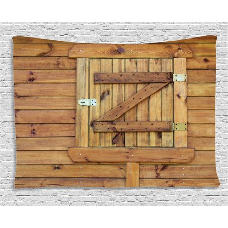 Shutters Decor Tapestry, Closed Wooden Shutters Planks Rough Grunge Countryside Classic Design Print, Wall Hanging for Bedroom Living Room Dorm Decor, 80W X 60L Inches, Golden Oak, by Ambesonne ()