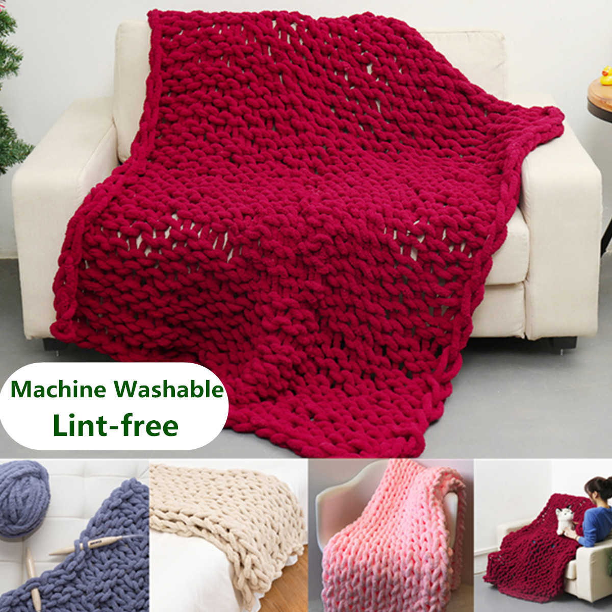 Grtsunsea 59''x47'' Hand-woven Soft Chunky Knitted Blanket Bulky Thick Yarn Bed Sofa Throw - Washable and Lint-free