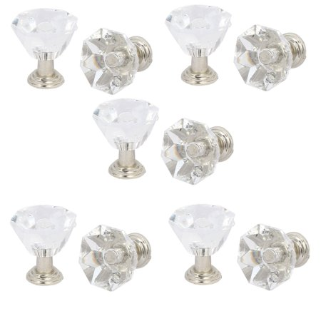 Wardrobe Cupboard Dresser Acrylic Pull Handle Knob Clear Silver Tone 10pcs ()