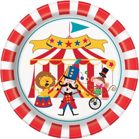 Circus Carnival Paper Dessert Plates, 7 in, 8ct