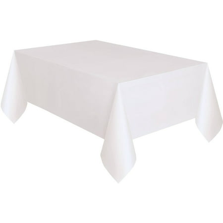 Orange Round Table Cover (White Plastic Party Tablecloth, 108 x)