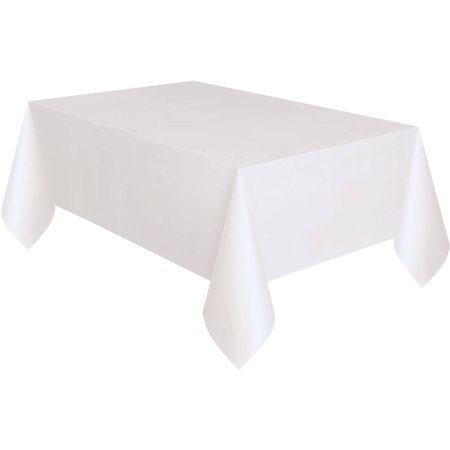 White Plastic Party Tablecloth, 108 x 54in (Blue Gingham Tablecloth Plastic)