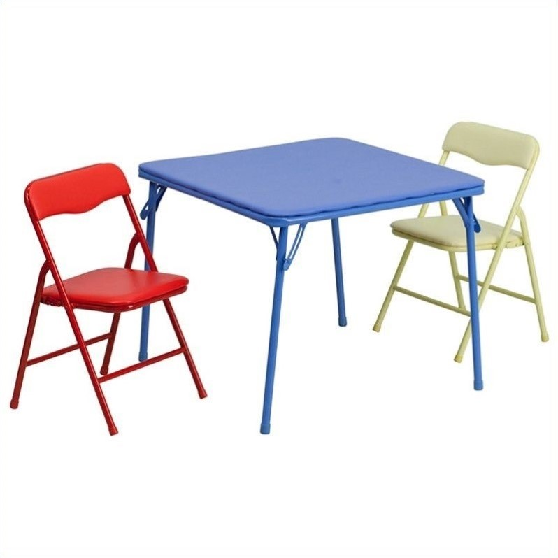 Flash Furniture Kids Colorful 3 Piece Folding Dining Table And Chair Set