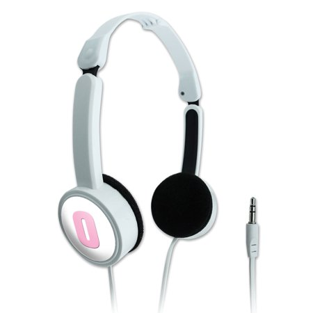 Egr Block - Letter O Initial Baby Girl Block Font Pink Shower Novelty Travel Portable On-Ear Foldable Headphones