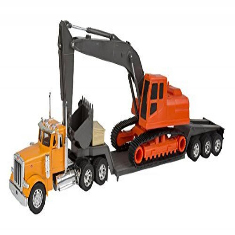 New Ray Peterbilt Model 379 Truck With Backhoe - New Ray NR11283A