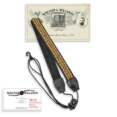 Walker & Williams UK-11 Gold & Yellow Woven Cotton & Nylon Adjustable Ukulele Strap for Any Size Uke](Yellow Nylons)