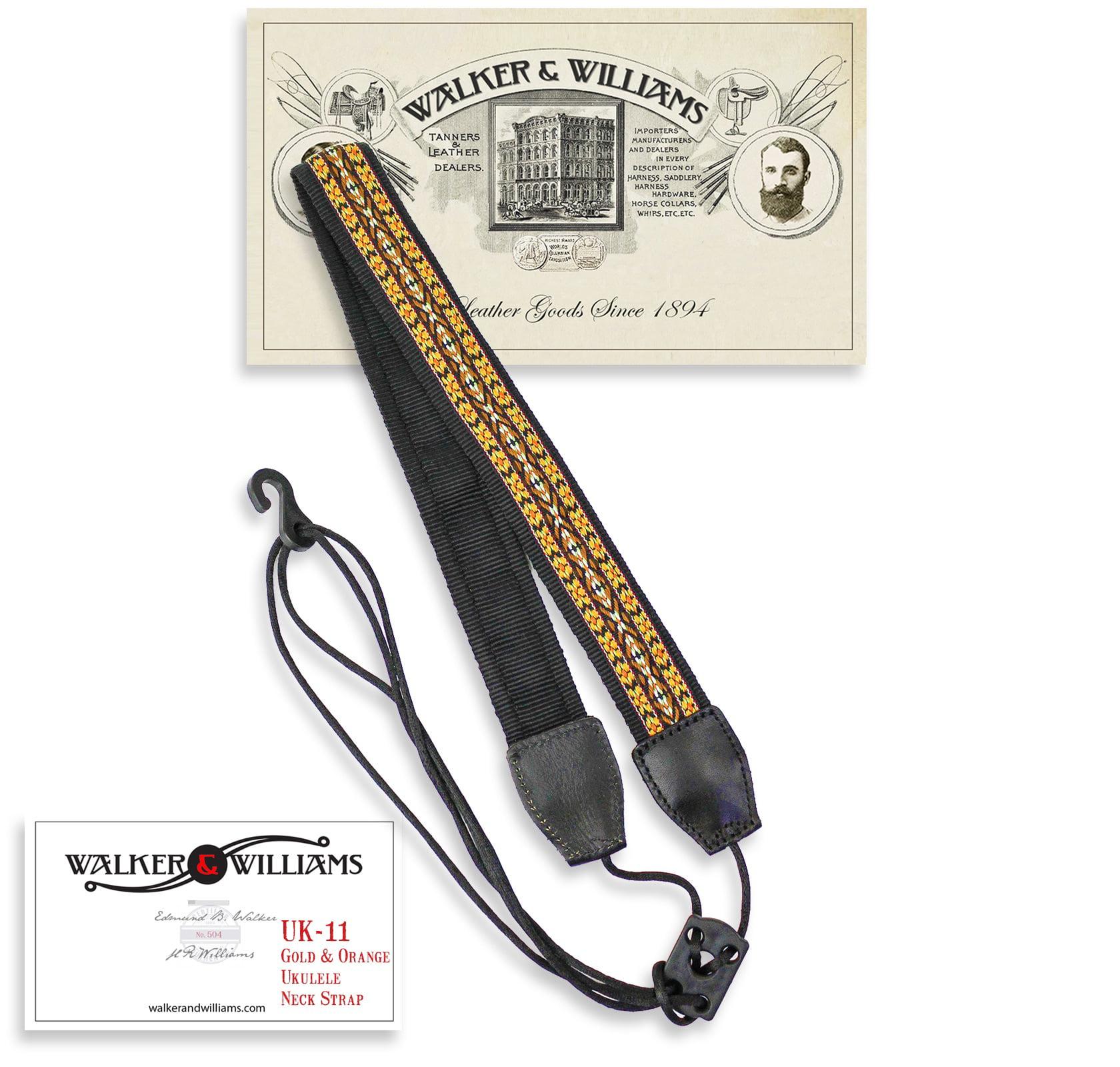 Walker & Williams UK-11 Gold & Yellow Woven Cotton & Nylon Adjustable Ukulele Strap for Any Size Uke