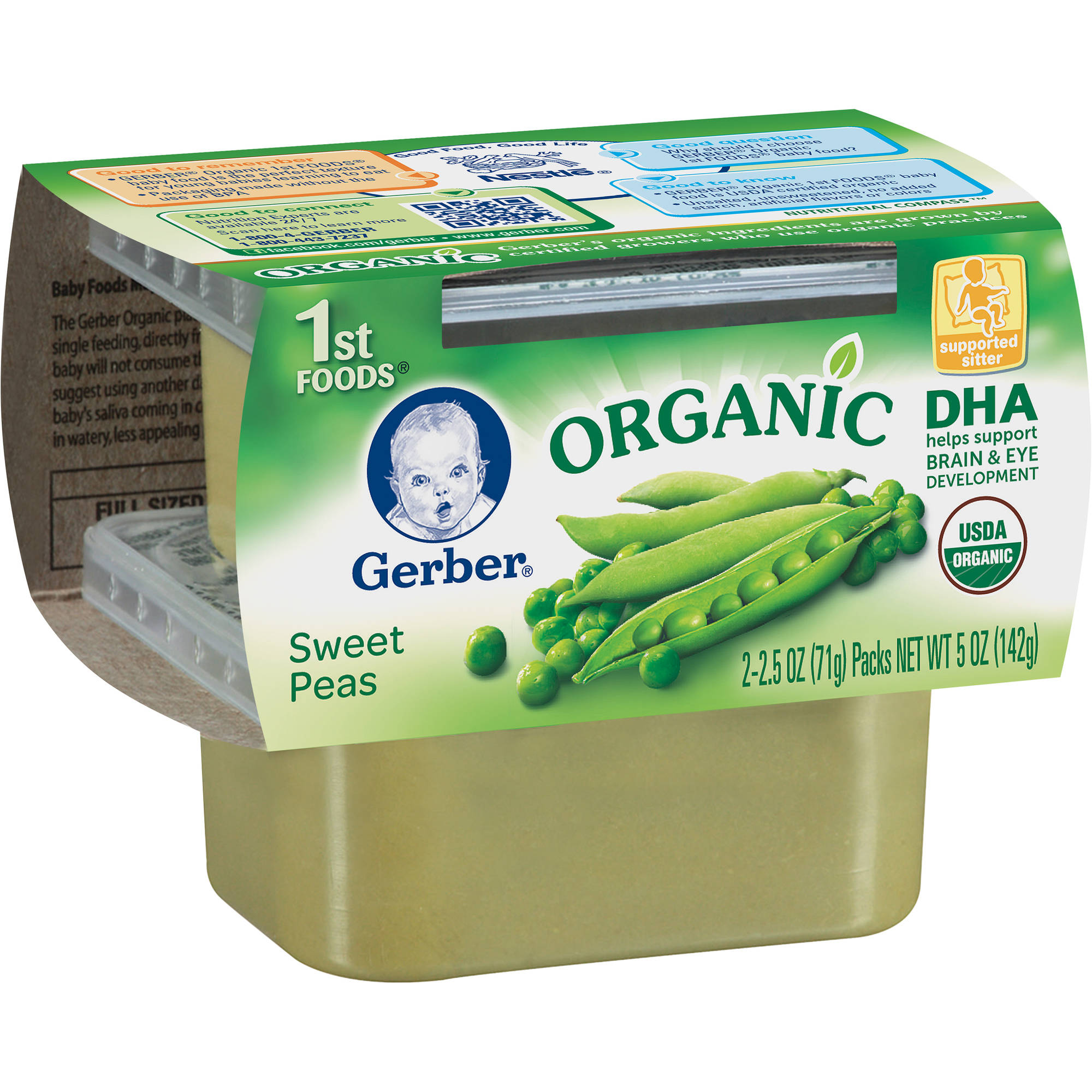 Gerber produces their own organic food and ensures the quality of their fields by performing rigorous soil testing. Organic 1st Foods fruits include applesauce, bananas, pears and prunes. Vegetables include carrots, peas and sweet potatoes.