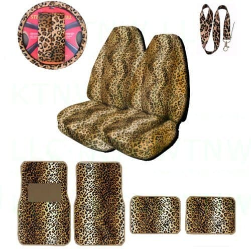 Unique Imports Front & Back Mats,2 High Back Seat Covers,Hanging Dice & Leopard Tan