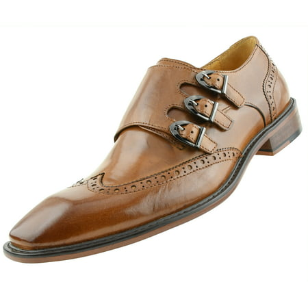 Tan Leather Cigar - Asher Green Mens Genuine Two-Tone and Solid Leather Dress Shoes, Comfortable Triple Monk Strap Wingtip Oxfords Available in Tan and Black