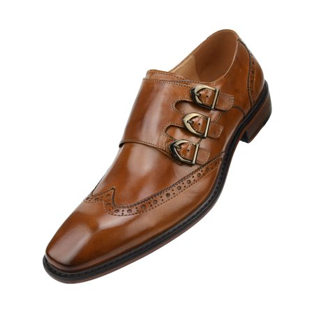 Asher Green Mens Genuine Two-Tone and Solid Leather Dress Shoes, Comfortable Triple Monk Strap Wingtip Oxfords Available in Tan and Black