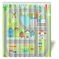 MYPOP Kids Decor Shower Curtain, Childrens Educational Playtime Road Map City Landscape Map Fabric Bathroom Set, 66 X 72 Inches