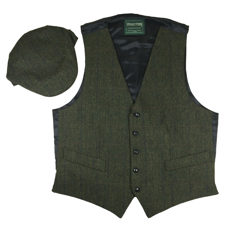 Irish Tweed Vest and Trinity Cap Green Tweed Vest M Cap L ...