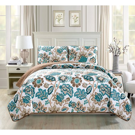 Fancy Linen 3pc Bedspread Coverlet Quilted floral Off White Green Brown Over Size New #Venice King/California King