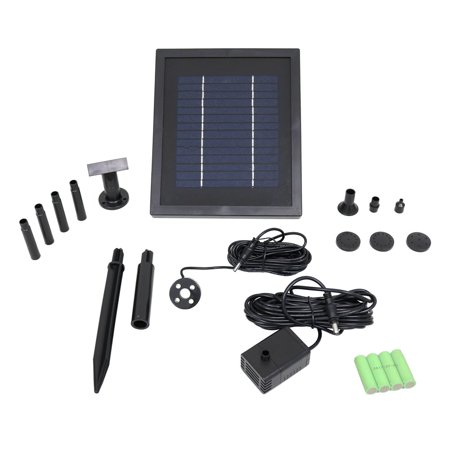 Sunnydaze Outdoor Solar Pump and Panel Fountain Kit With Battery Pack and LED Light, 65 GPH, 47-Inch (Outdoor Solar Panels)