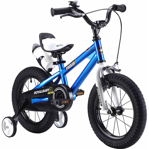 RoyalBaby BMX Freestyle Kids Bike, Boy's Bikes and Girl's Bikes with training wheels, Gifts for children, 16 inch wheels, Blue
