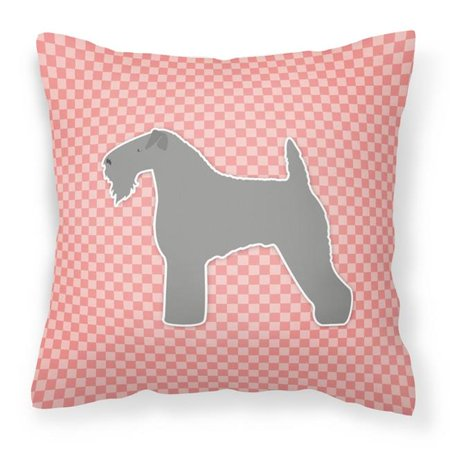 Carolines Treasures BB3592PW1818 Kerry Blue Terrier Checkerboard Pink Fabric Decorative Pillow - image 1 of 1
